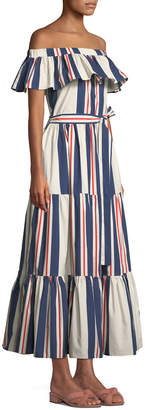 Double J Off-the-Shoulder Striped Cotton Maxi Dress