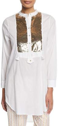 Figue Thalie Golden-Sequined Bib Long Tunic