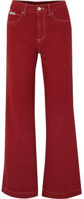 ALEXACHUNG High-rise Wide-leg Jeans - Claret