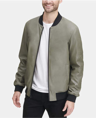 DKNY Men Soft Faux-Leather Bomber Jacket