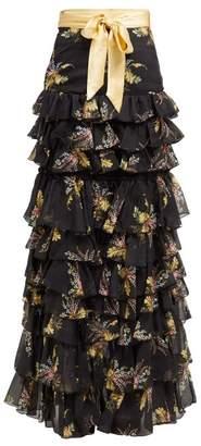 Rodarte Floral Print Ruffled Silk Blend Skirt - Womens - Black Multi