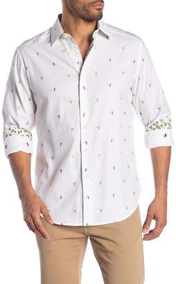 Robert Graham Palm Leaves Print Long Sleeve Shirt