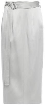 Joseph Byron Belted Satin Midi Skirt