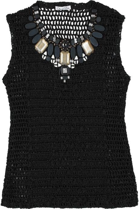 Oscar de la Renta Crochet-embellished top