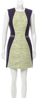 Lela Rose Tweed-Accented Sleeveless A-Line Dress