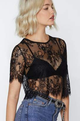 Nasty Gal Lace to Lace Crop Top