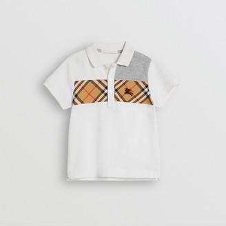 Burberry Childrens Vintage Check Panel Cotton Polo Shirt