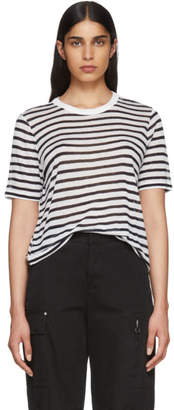 Alexander Wang White and Navy Striped Cropped T-Shirt