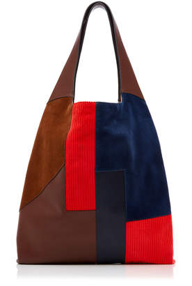 "Hayward Patchwork-Effect Suede"" Corduroy And Leather Tote"