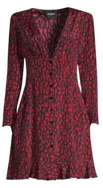 The Kooples Women's Animal Print A-Line Silk Dress - Black/Red - Size 1 (S)