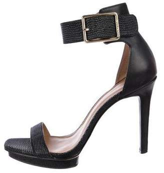 Calvin Klein Collection Pebbled Leather Ankle Strap Sandals