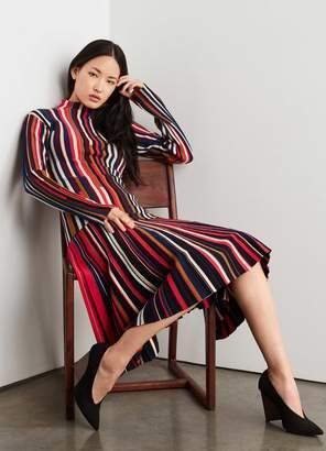 St. John Multicolor Knit Plisse Skirt