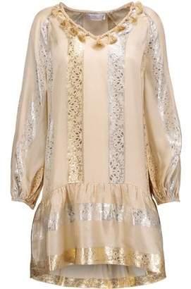 Rachel Zoe Roe Metallic Pleated Printed Silk Mini Dress