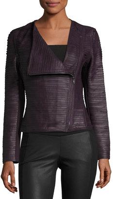 My Tribe Asymmetric-Zip Leather Striped Jacket, Burgundy $301 thestylecure.com