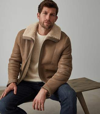 Reiss WARRENFORD REVERSIBLE SHEARLING JACKET Tan