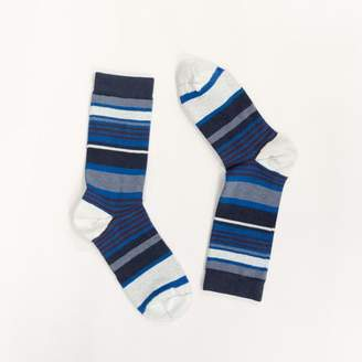 Blade + Blue Grey Heather, Royal Blue & Burgundy Variegated Stripe Socks