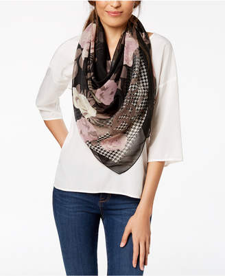 INC International Concepts I.n.c. Houndstooth Floral Square Scarf, Created for Macy's