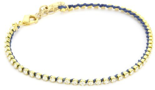 Ettika Gold Colored Small Rhinestone Blue Tennis Anklet