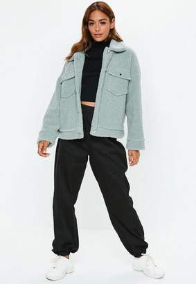 Missguided Mint Green Oversized Borg Trucker Jacket