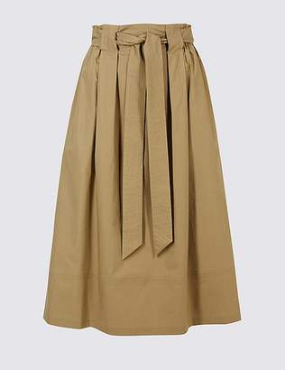 Marks and Spencer Cotton Rich A-Line Midi Skirt