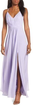 Eliza J V-Neck Pleated Chiffon Gown