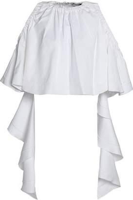 Ellery Cold-Shoulder Ruffled Cotton-Gabardine Top