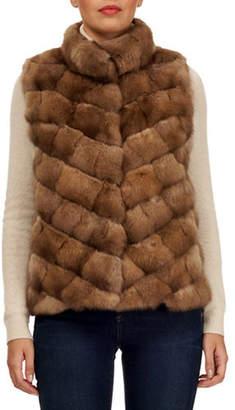 Gorski Sable Fur Chevron Intarsia Vest w/ Stand Collar