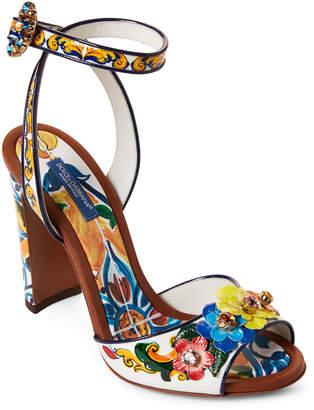 Dolce & Gabbana Majolica Ceramic Print Embellished Ankle Strap Sandals