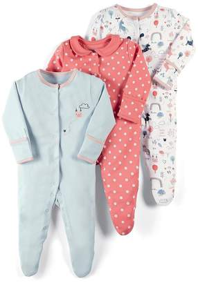 Mamas and Papas Baby Girls 3 Pack Unicorn Sleepsuits