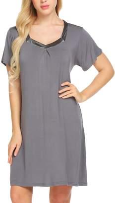 Ekouaer Night Dress Women s Sleepshirts Short Sleeve Sleepwear Knee Length  Nightgown ( ... 767f589ea