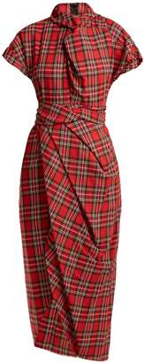 Awake High-neck draped tartan cotton dress