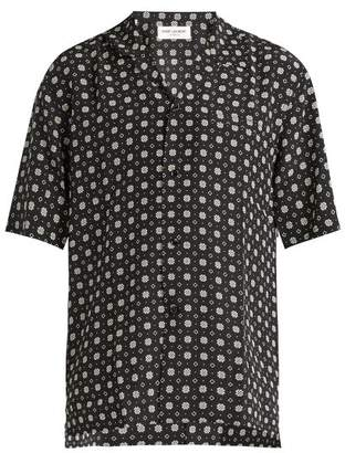 Saint Laurent Geometric Print Short Sleeved Silk Shirt - Mens - Black