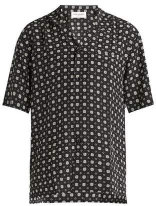 Saint Laurent - Geometric Print Short Sleeved Silk Shirt - Mens - Black
