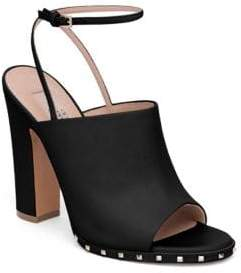 Valentino Soul Rockstud Leather Ankle-Strap Mules