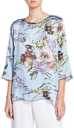 Caroline Rose Plus Size English Garden Silk Party Top