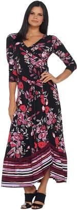 Du Jour Petite Floral Printed Faux Wrap Knit Maxi Dress