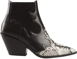 Casadei Snake Skin Effect Ankle Boots