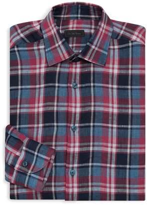 Saks Fifth Avenue Plaid Linen Shirt