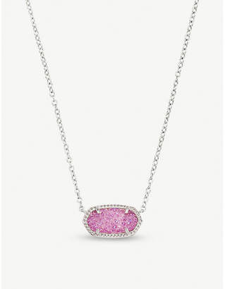 Kendra Scott Elisa rhodium-plated and violet drusy pendant necklace