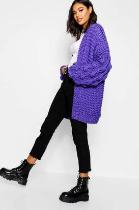 boohoo Premium Hand Knitted Chunky Cable Knit Cardigan