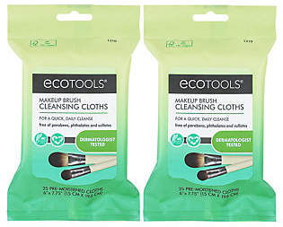 EcoTools Makeup Brush Cleansing Cloths, 2 packs