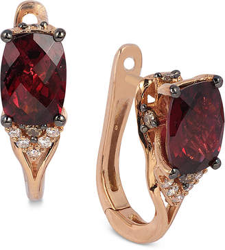 LeVian Le Vian Raspberry Rhodolite Garnet (1-7/8 ct. t.w.) and Diamond (1/10 ct. t.w.) Earrings in 14k Rose Gold