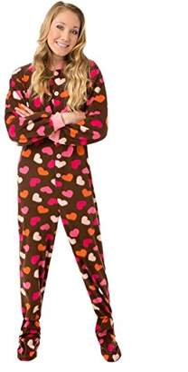 at Amazon Canada · Co Big Feet Pajama Big Feet Pjs Brown Fleece w Hearts Adult  Footed PJs w ed0239a10