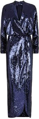 Monique Lhuillier Sequin Wrap Midi Dress