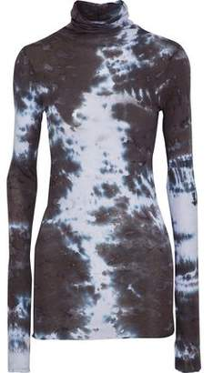 Enza Costa Tie-Dyed Pima Cotton Turtleneck Top