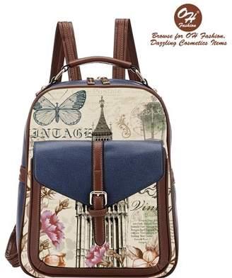 OH Fashion Handbag Backpack European Dream London Design Rucksack Travel Bag Color Blue with Designs
