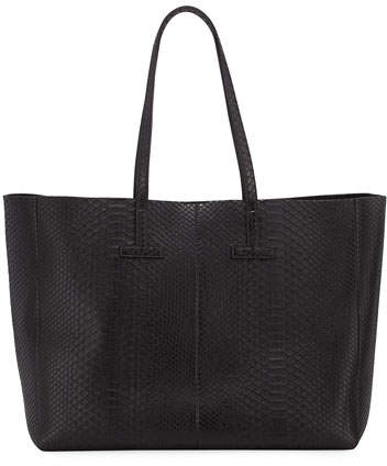 Tom Ford TOM FORD Large Python T Tote Bag, Black