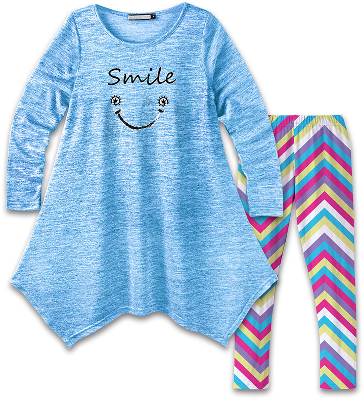 Blue Smile Face Handkerchief Dress & Pink Chevron Leggings - Girls