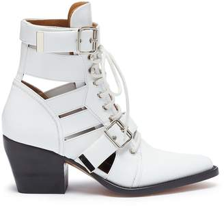 Chloé 'Rylee' cutout leather lace-up ankle boots