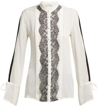 Etro Bahidora Silk And Lace Shirt - Womens - White Black
